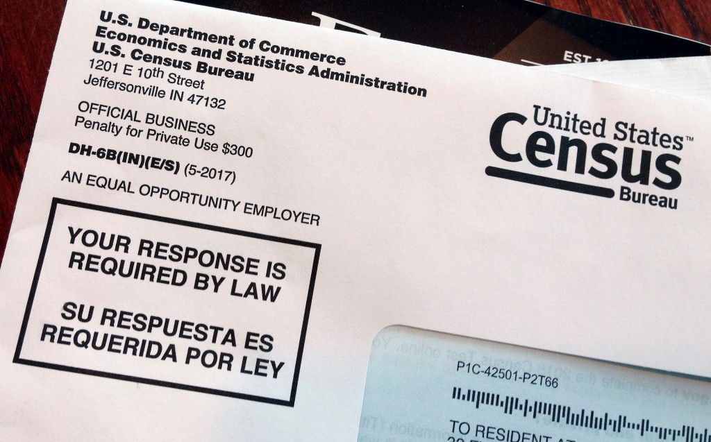 FILE - This March 23, 2018, file photo shows an envelope containing a 2018 census letter mailed to a U.S. resident as part of the nation's only test r