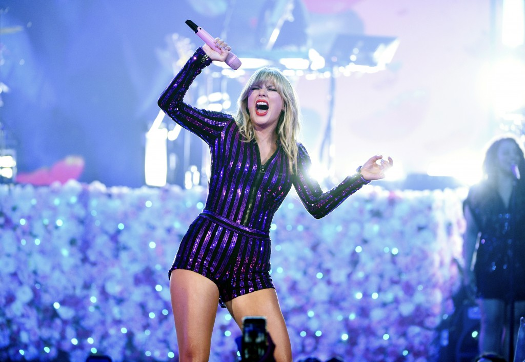 Singer Taylor Swift performs at Amazon Music's Prime Day concert at the Hammerstein Ballroom on Wednesday, July 10, 2019, in New York. (Photo by Evan ...