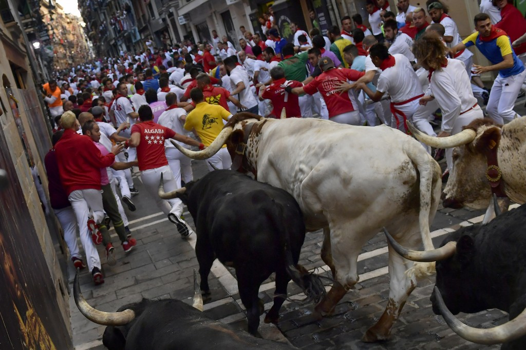 Revellers run next to fighting bulls during the running of the bulls at the San Fermin Festival, in Pamplona, northern Spain, Thursday, July, 11, 2019