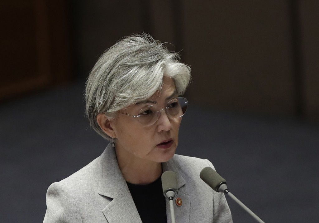 FILE - In this Tuesday, July 9, 2019, file photo, South Korean Foreign Minister Kang Kyung-wha answers questions during a plenary session at National