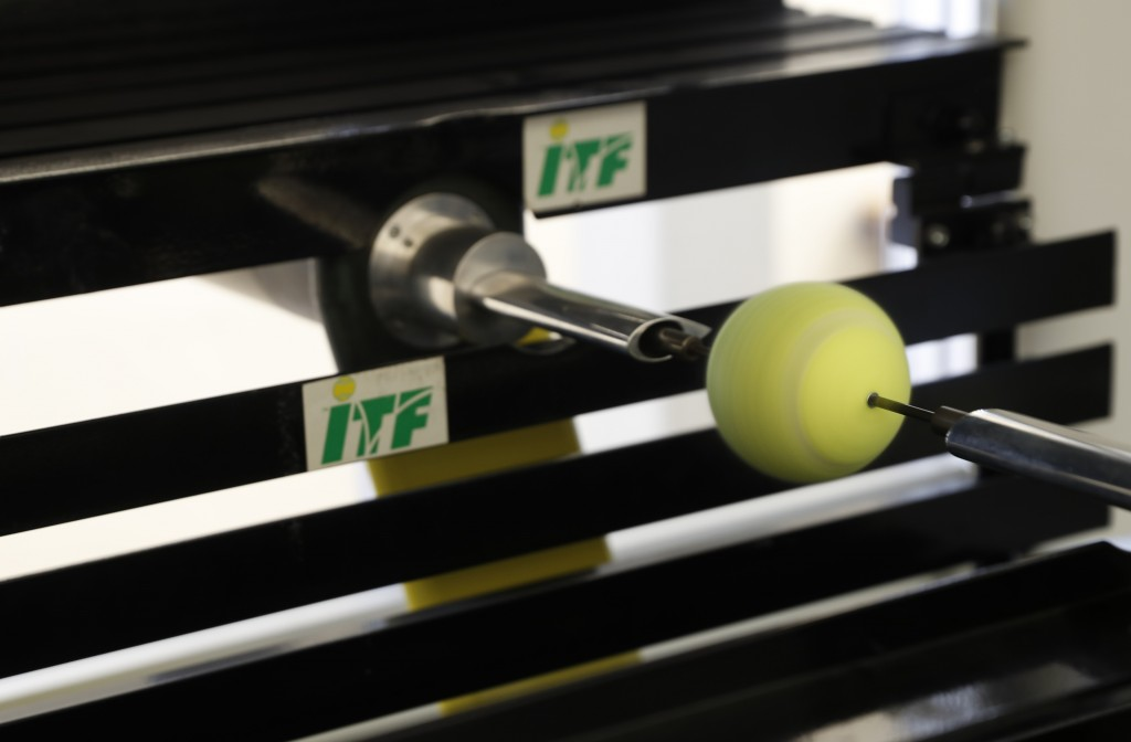 In this photo taken Friday June, 28, 2019, a tennis ball is rotated in a wind tunnel, showing how the ball moves in the air at different speeds, as it...