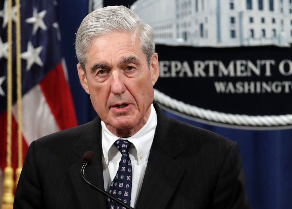 FILE - In this May 29, 2019, file photo, special counsel Robert Mueller speaks at the Department of Justice in Washington, about the Russia investigat
