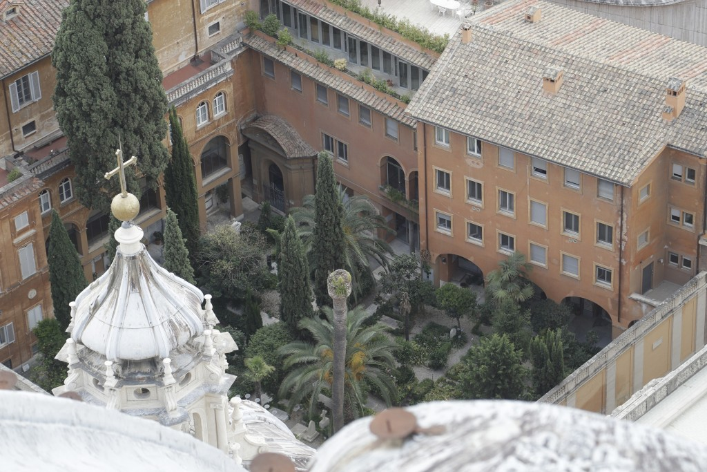 This picture taken on Wednesday, July 10, 2019 shows the view of the Teutonic Cemetery inside the Vatican. On Thursday, July 11, 2019 the Vatican open