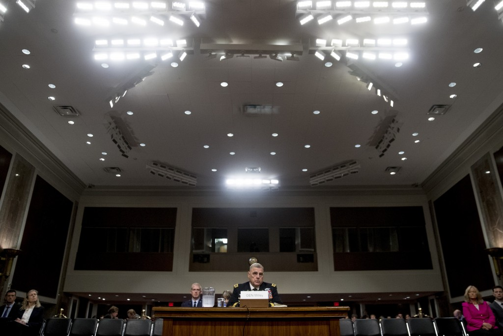Gen. Mark Milley speaks at a Senate Armed Services Committee hearing on Capitol Hill in Washington, Thursday, July 11, 2019, for reappointment to the ...