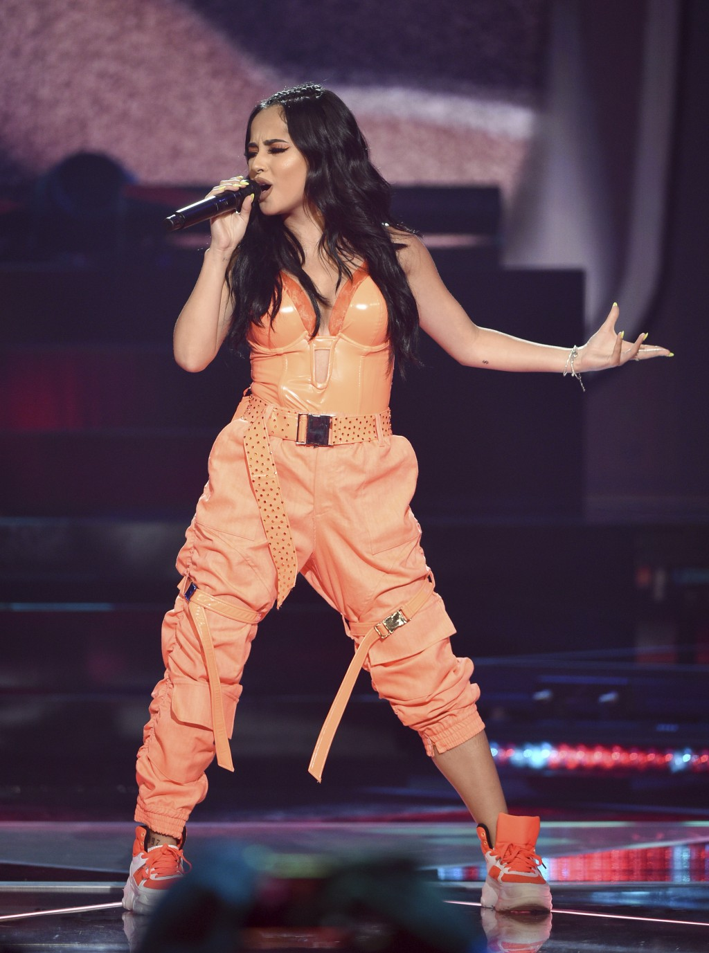 Singer Becky G performs at Amazon Music's Prime Day concert at the Hammerstein Ballroom on Wednesday, July 10, 2019, in New York. (Photo by Evan Agost...
