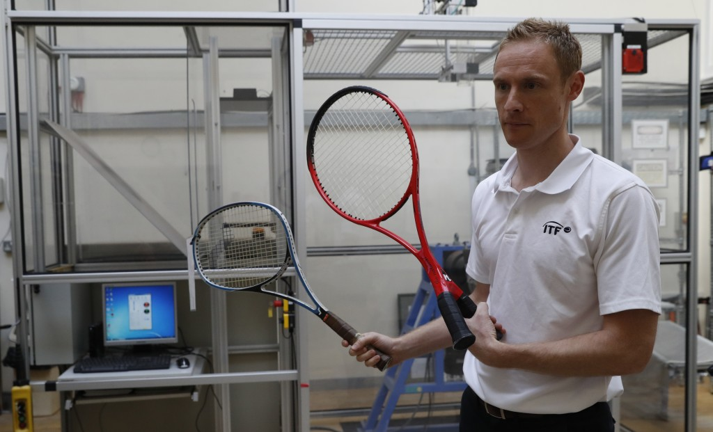 In this photo taken Friday June, 28, 2019, Jamie Caple-Davies, the head of the International Tennis Federation (ITF) science and technical department,...