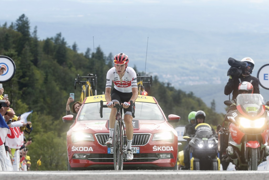 Italy's Giulio Ciccone crosses the finish line of the sixth stage of the Tour de France cycling race over 160 kilometers (100 miles) with start in Mul