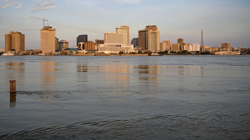 The Mississippi River is at 16 feet, which is just below flood stage, 17 feet, in New Orleans, Thursday, July 11, 2019 ahead of Tropical Storm Barry f...