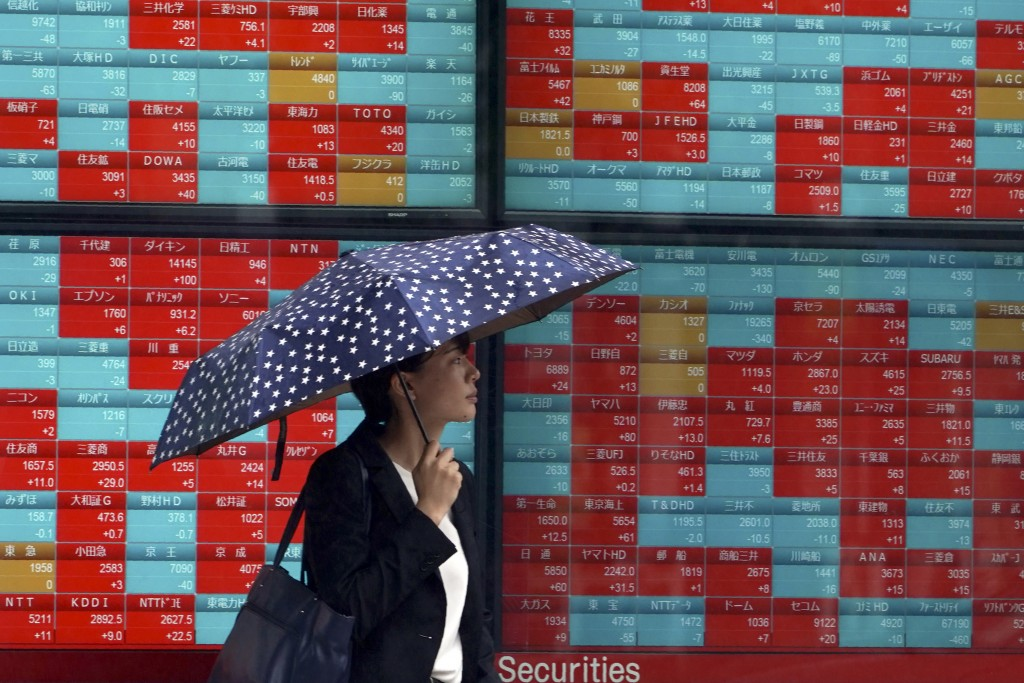 A woman walks past an electronic stock board showing Japan's Nikkei 225 index at a securities firm in Tokyo Friday, July 12, 2019. Shares in Asia are