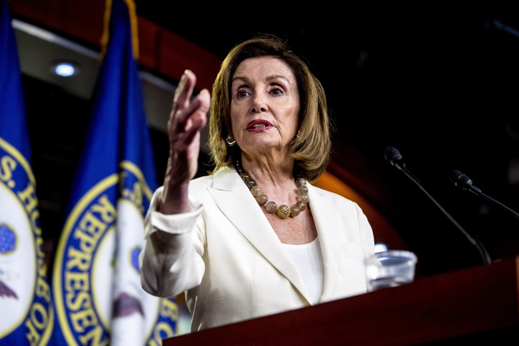 House Speaker Nancy Pelosi of Calif. meets with reporters on Capitol Hill in Washington, Thursday, July 11, 2019. (AP Photo/Andrew Harnik)