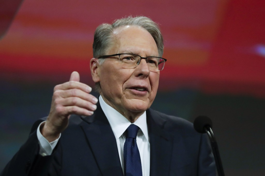 FILE - In this Saturday, April 27, 2019, file photo, National Rifle Association Executive Vice President Wayne LaPierre speaks at the NRA Annual Meeti