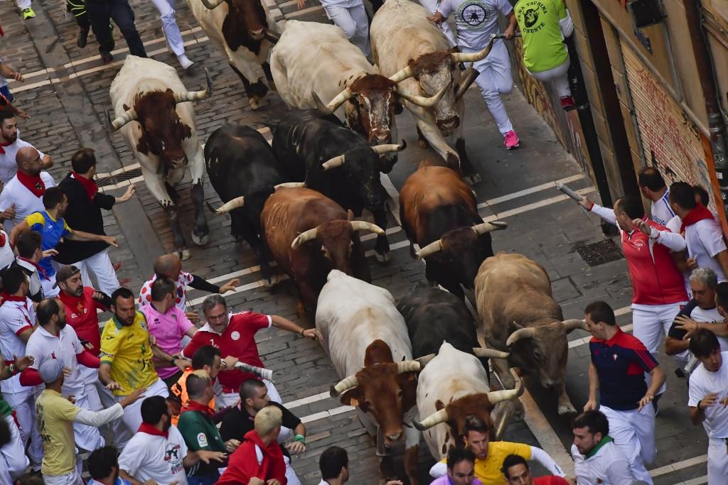 Revellers run next to fighting bulls during the ru...