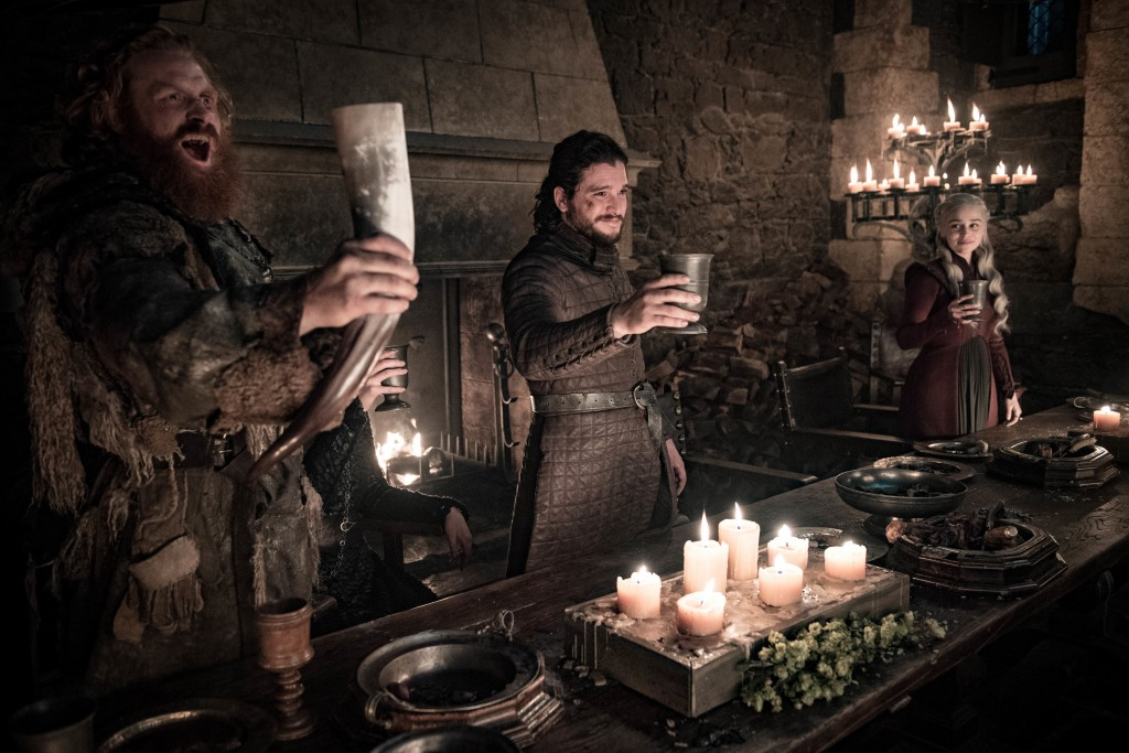 """This image released by HBO shows Kristofer Hivju, from left, Kit Harington and Emilia Clarke in a scene from """"Game of Thrones.""""  """"Game of Thrones,"""" """"V"""