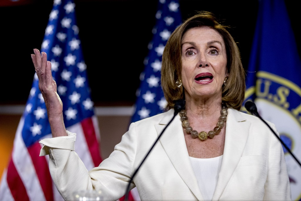 House Speaker Nancy Pelosi of Calif. meets with re...