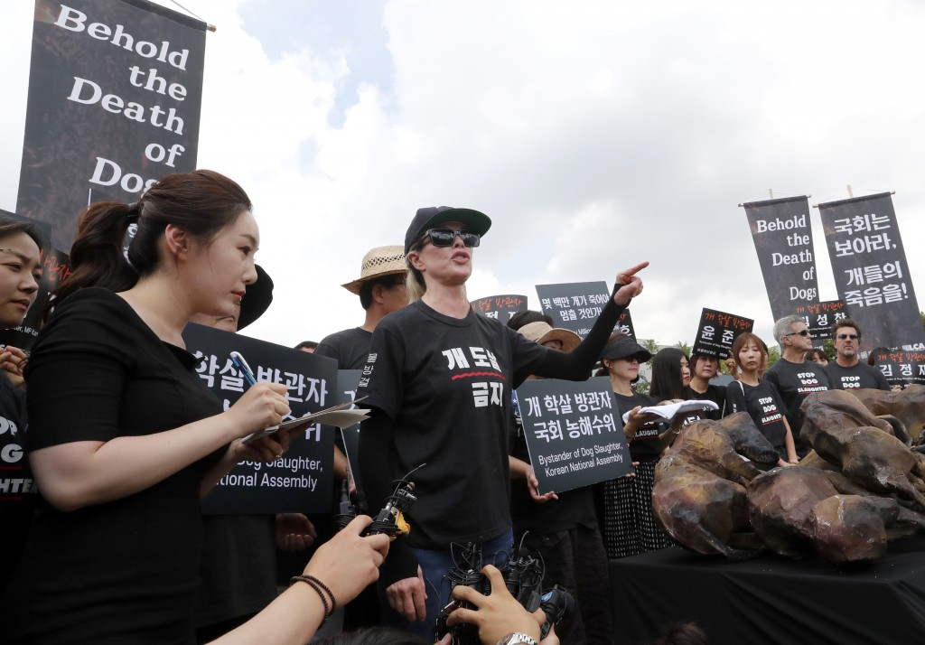 American actress Kim Basinger, center, speaks during a rally to oppose eating dog meat in front of the National Assembly in Seoul, South Korea, Friday
