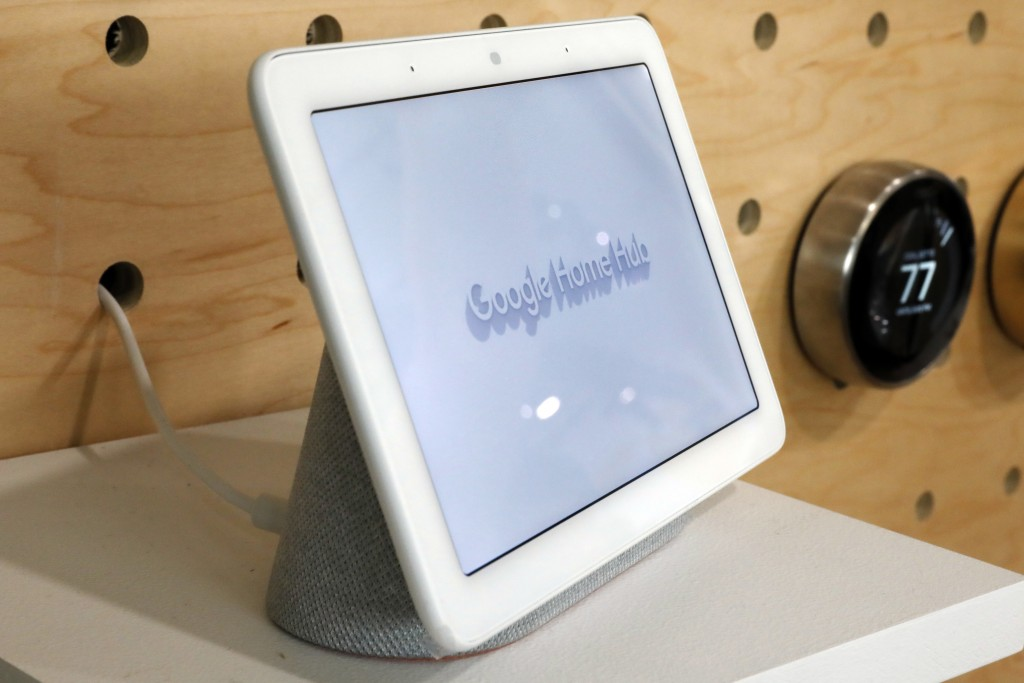 FILE - In this Oct. 9, 2018, file photo a Google Home Hub is displayed in New York. Google contractors are listening to some recordings of people talk...