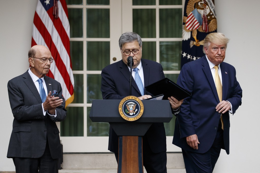 President Donald Trump, joined by Commerce Secretary Wilbur Ross, and Attorney General William Barr, participate in an event about the census and the