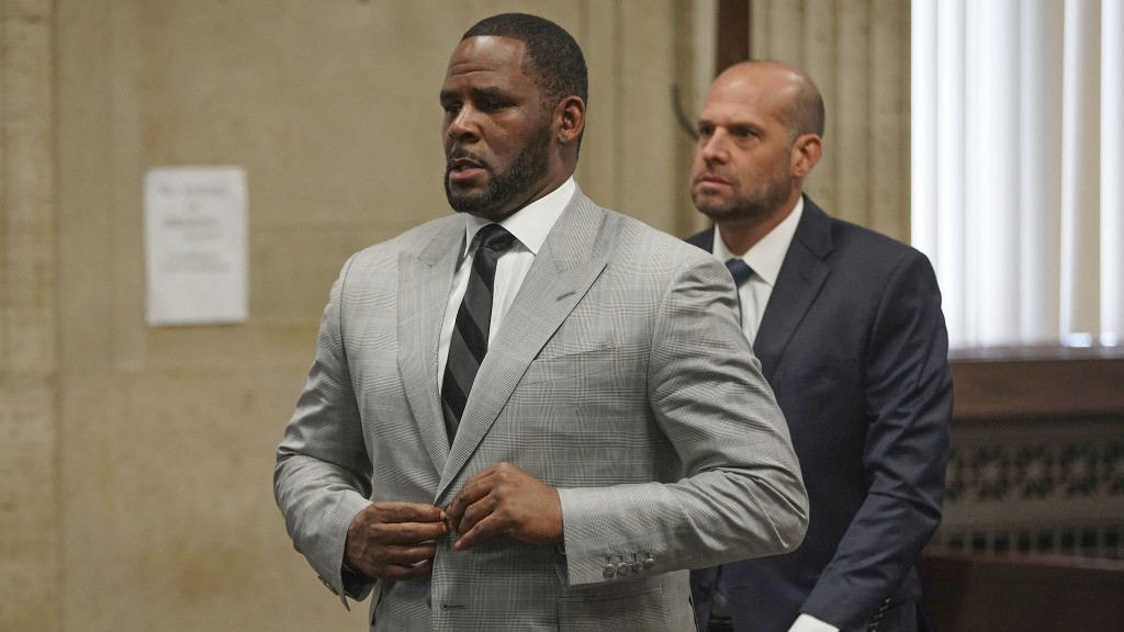FILE - In this  June 6, 2019, file photo, singer R. Kelly pleaded not guilty to 11 additional sex-related felonies during a court hearing before Judge...