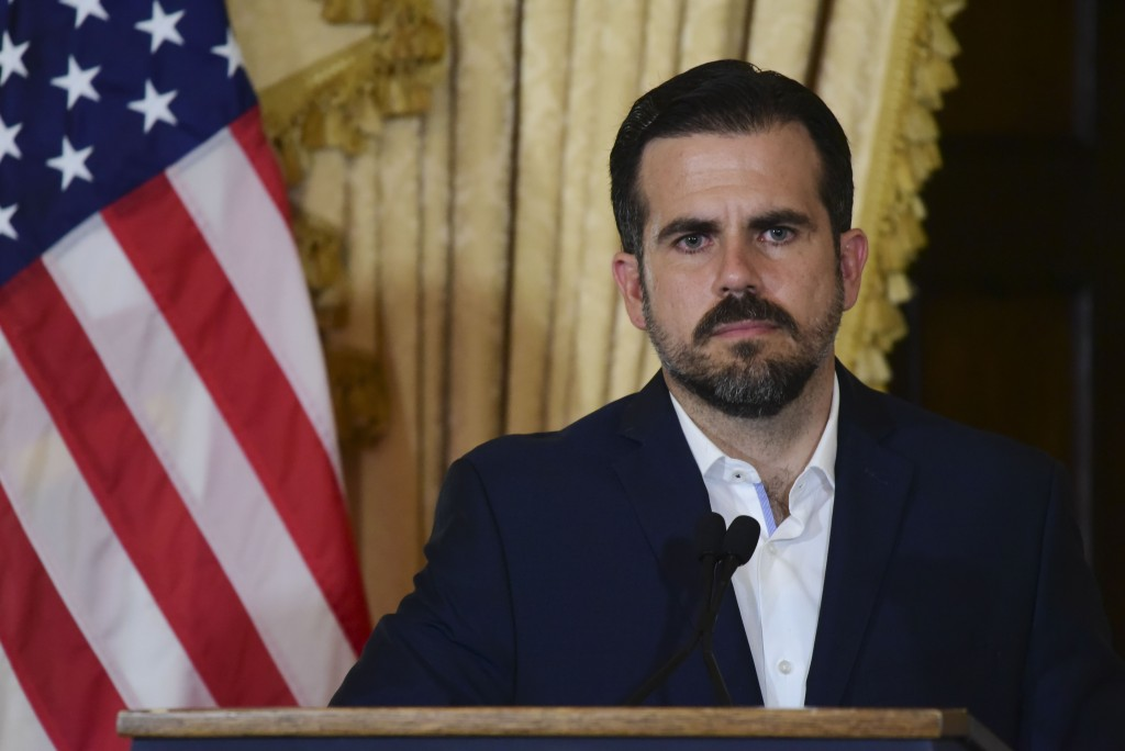Puerto Rico governor Ricardo Rossello holds a press conference, almost two days after federal authorities arrested the island's former secretary of ed...