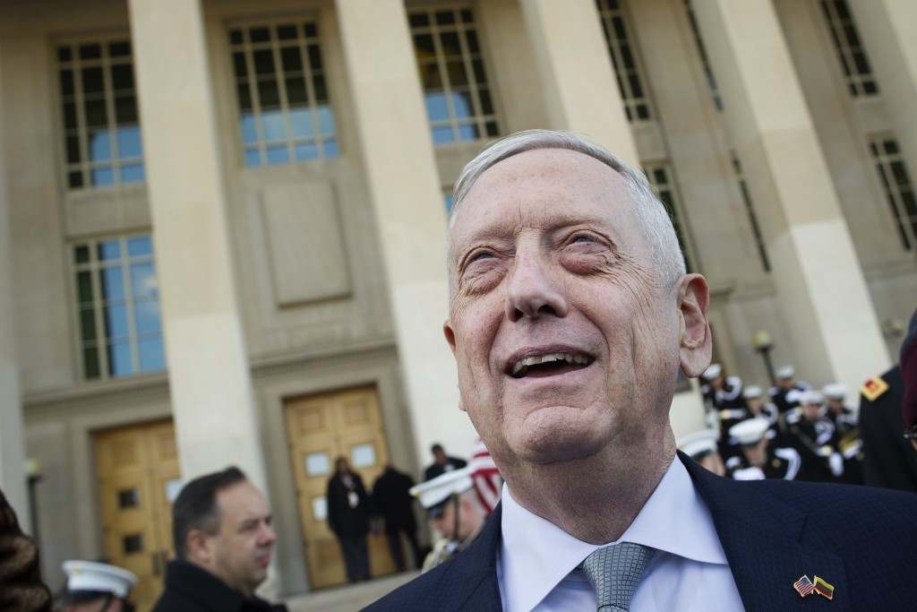 FILE - In this Nov. 28, 2018, file photo, then-Secretary of Defense Jim Mattis speaks with reporters before welcoming Lithuanian Minister of National ...