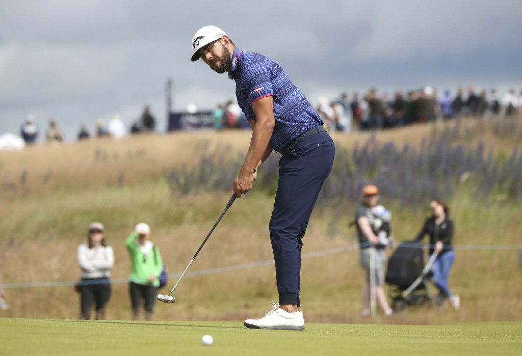 South Africa's Erik Van Rooyen on the 6th green during day two of the Scottish Open golf tournament at The Renaissance Club, in North Berwick, Scotlan...