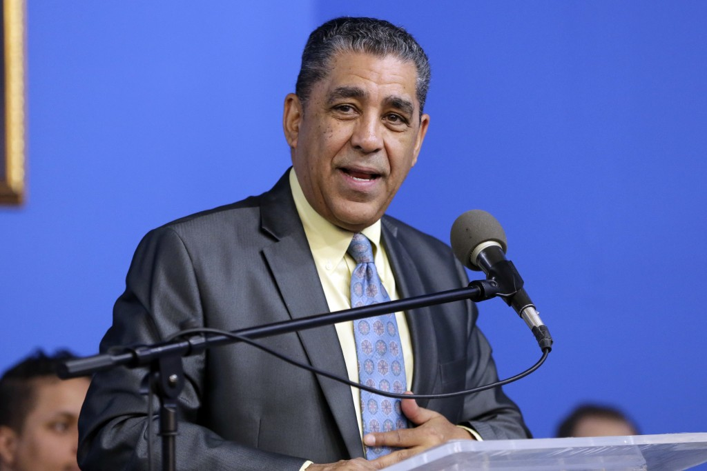 FILE - This Jan. 15, 2018 file photo shows U.S. Rep. Adriano Espaillat, D-N.Y. speaking at the National Action Network House of Justice, in New York.