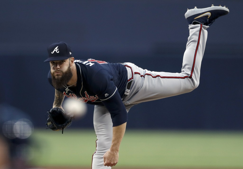 Atlanta Braves starting pitcher Dallas Keuchel works against a San Diego Padres batter during the first inning of a baseball game Friday, July 12, 201
