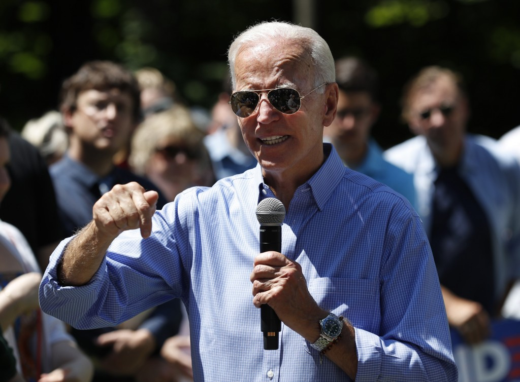 Former Vice President and Democratic presidential candidate Joe Biden, speaks at a house party campaign stop, Saturday, July 13, 2019, in Atkinson, N....