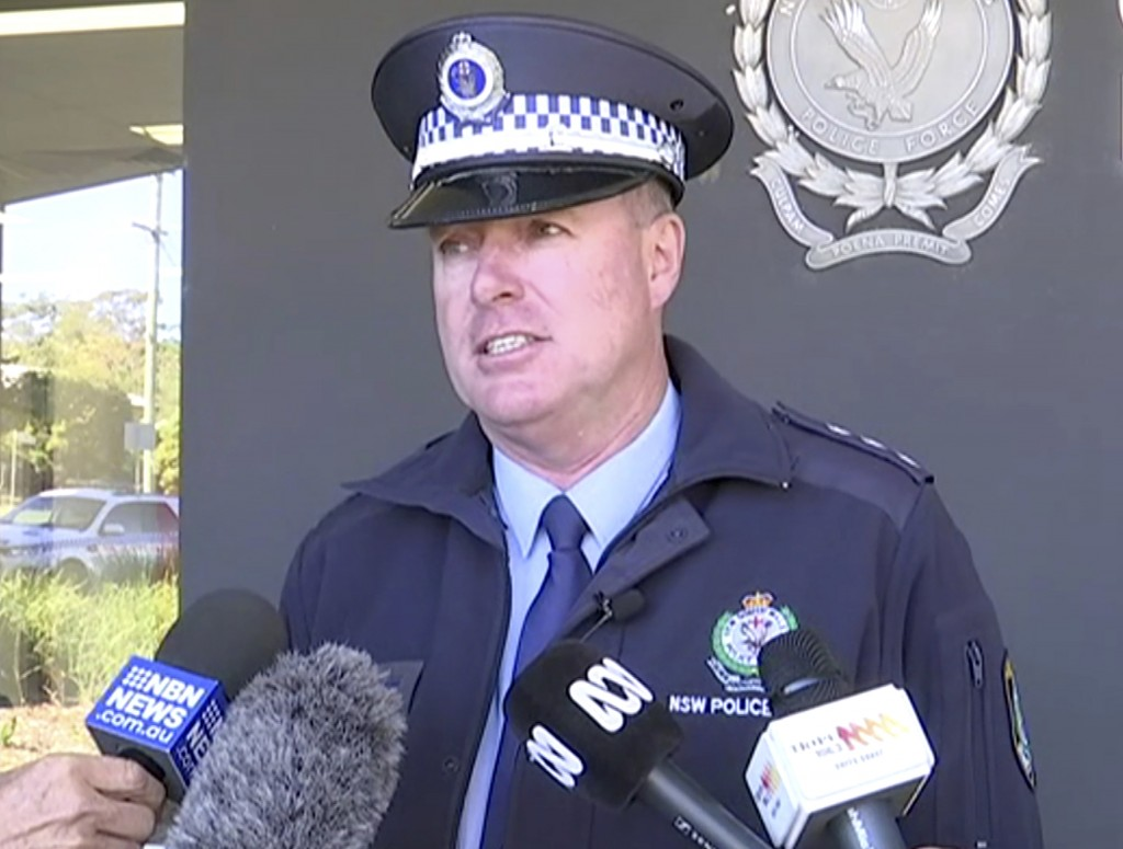 In this image made from video, New South Wales state police Acting Inspector Darren Williams speaks about child drivers during a news conference in Co...