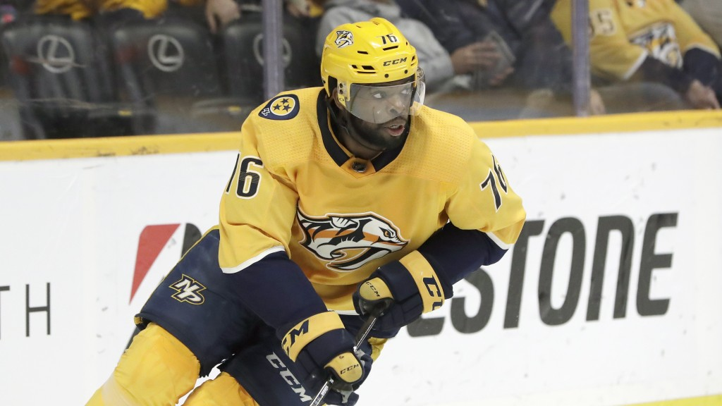 FILE - In this Feb. 25, 2019, file photo, Nashville Predators defenseman P.K. Subban plays in an NHL hockey game in Nashville, Tenn. The Devils are do