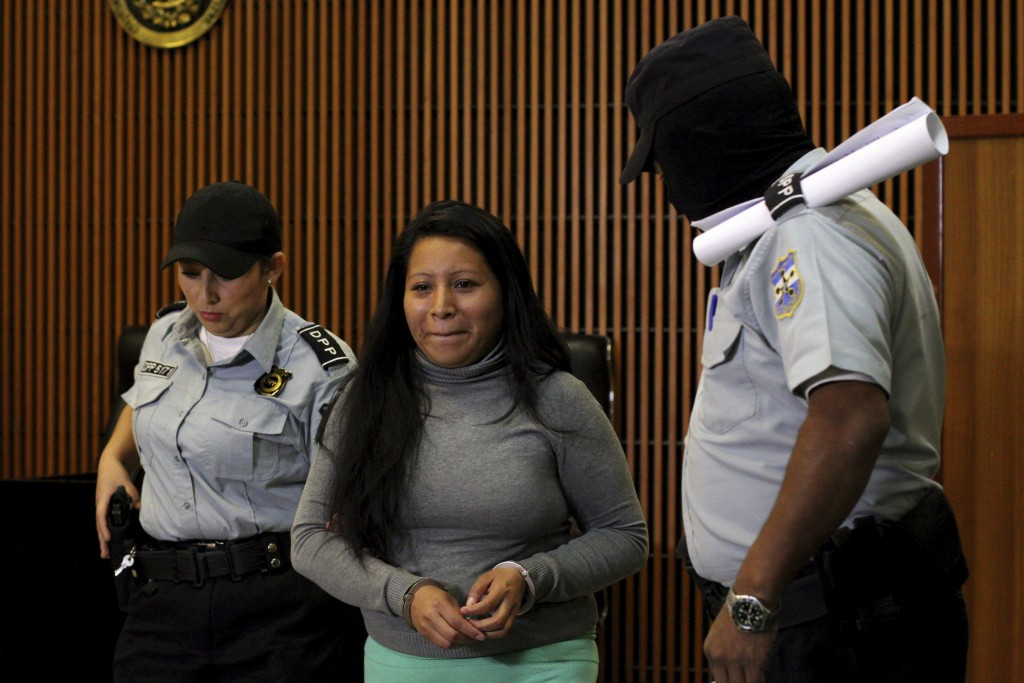 FILE - In this Dec. 13, 2017 file photo, Teodora Vasquez, who was found guilty of what the court said was an illegal abortion via a miscarriage, arriv...