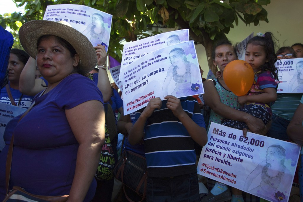 In this Dec. 17, 2018 photo, Salvadoran women rally in support of Imelda Cortez, a 20-year-old rape survivor who was accused of attempting to abort he...