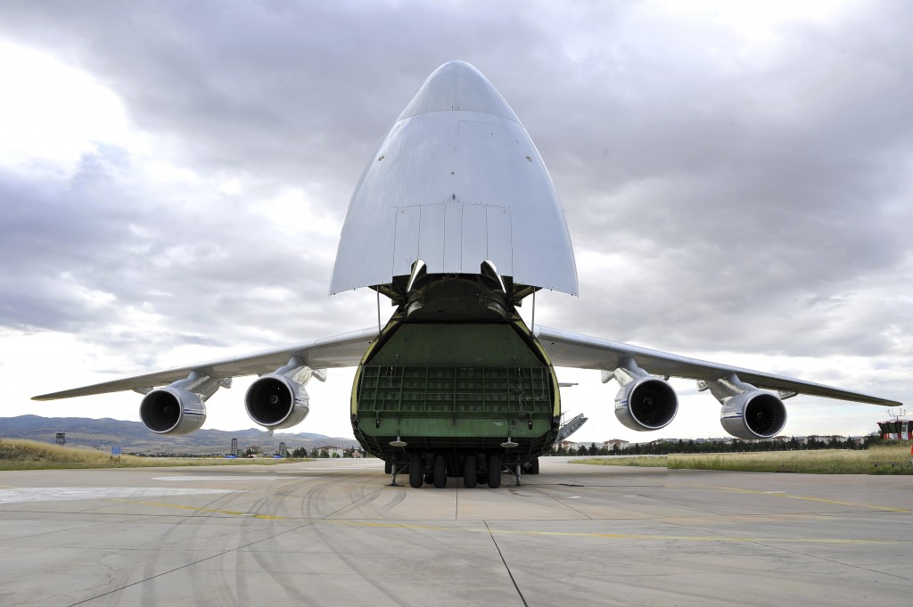 A Russian transport aircraft, carrying military vehicles and equipment, parts of the S-400 air defense systems, is seen at Murted military airport in ...