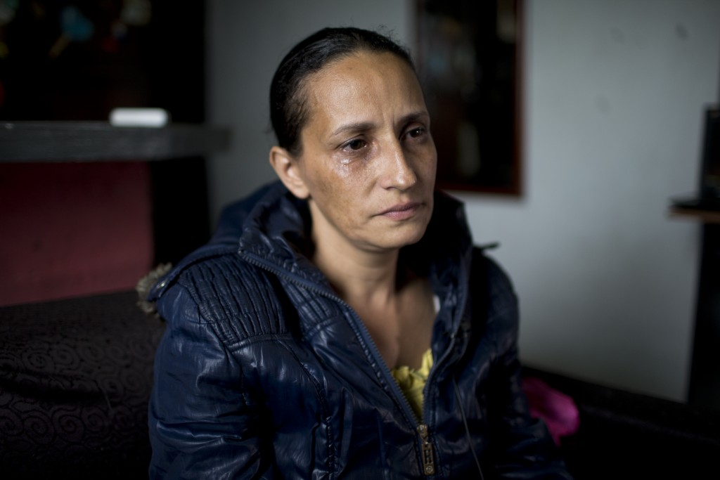 Judith Perez, mother of Karen Palacios, cries during an interview at her house in Los Teques in the outskirts of Caracas, Venezuela, Tuesday, July 16,...