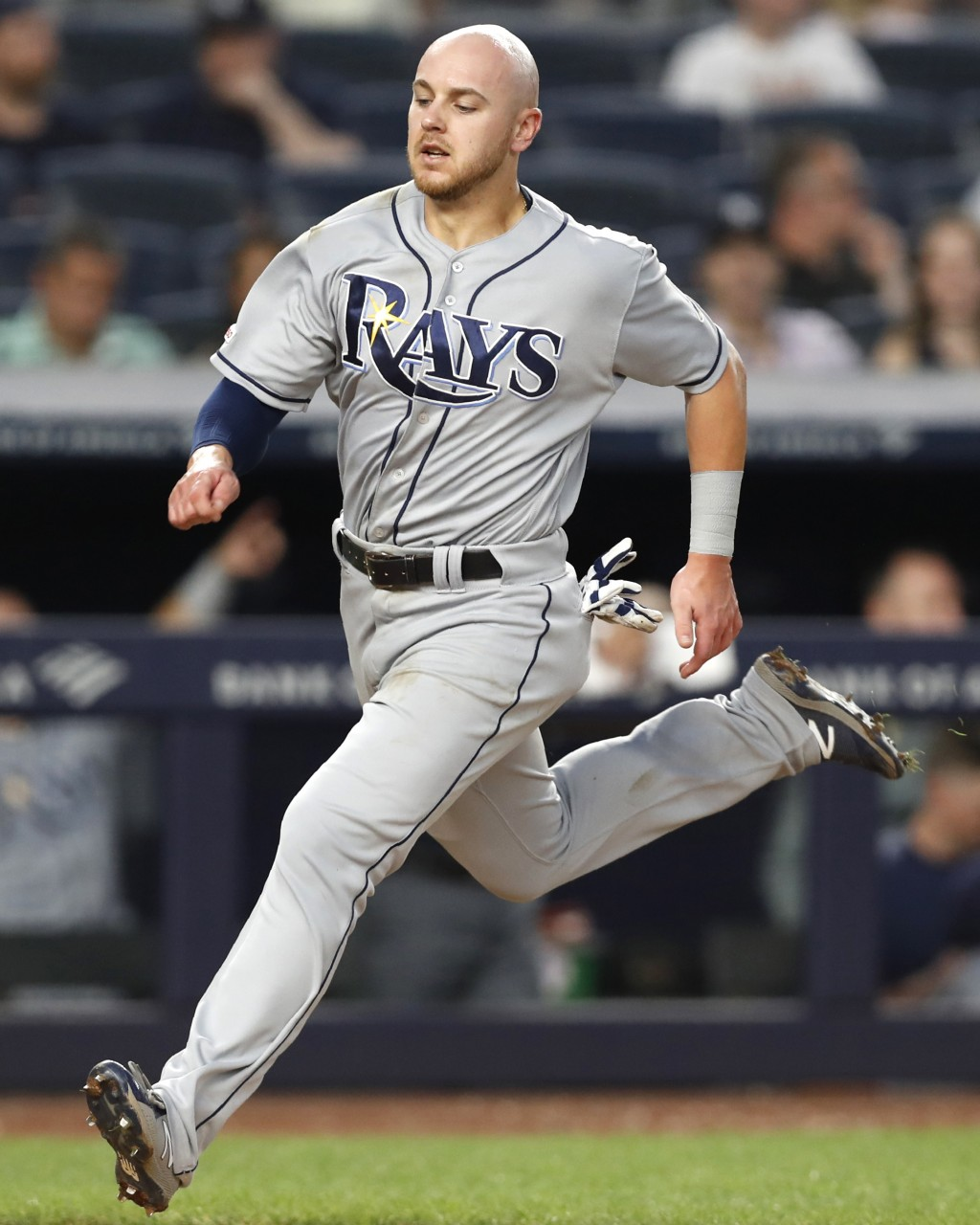 Tampa Bay Rays' Michael Brosseau scores on Yandy Diaz's sixth-inning ground-rule double in a baseball game against the New York Yankees on Tuesday, Ju...