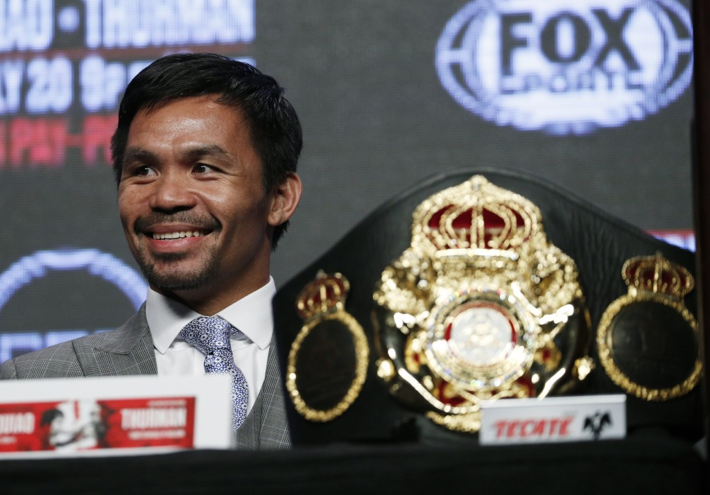 Manny Pacquiao smiles during a news conference Wednesday, July 17, 2019, in Las Vegas. Pacquiao is scheduled to fight Keith Thurman in a welterweight