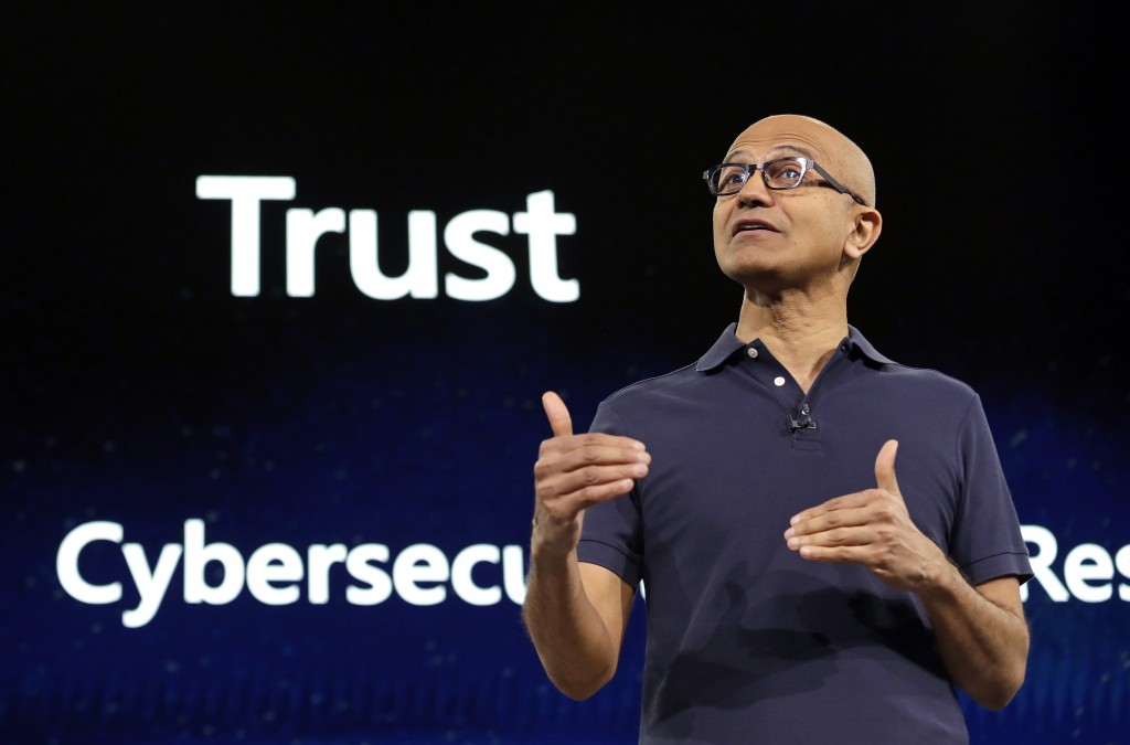 FILE - In this May 6, 2019, file photo Microsoft CEO Satya Nadella delivers the keynote address at Build, the company's annual conference for software...