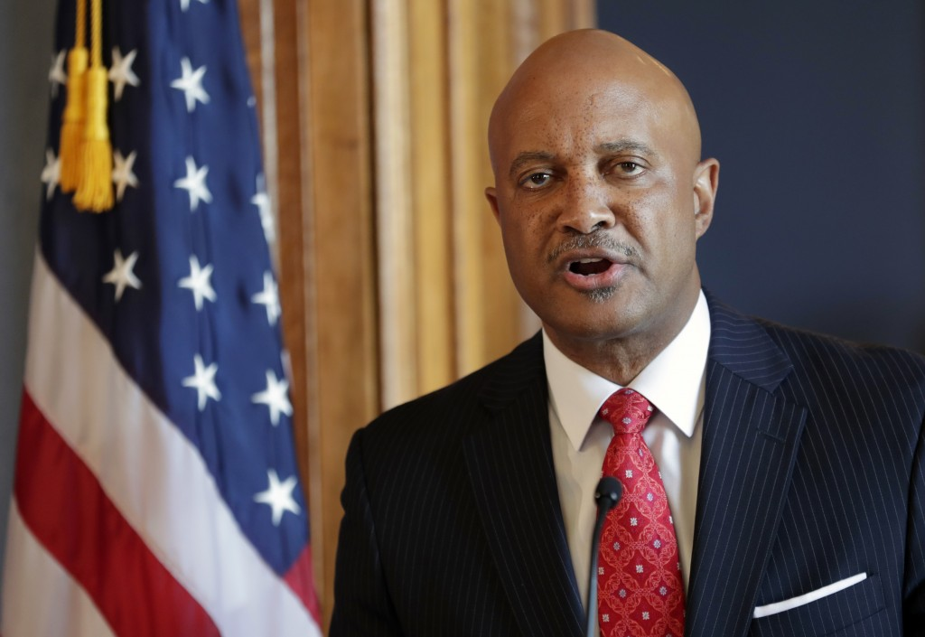 FILE - In this July 9, 2018, file photo, Indiana Attorney General Curtis Hill speaks during a news conference at the Statehouse in Indianapolis. Lawye...