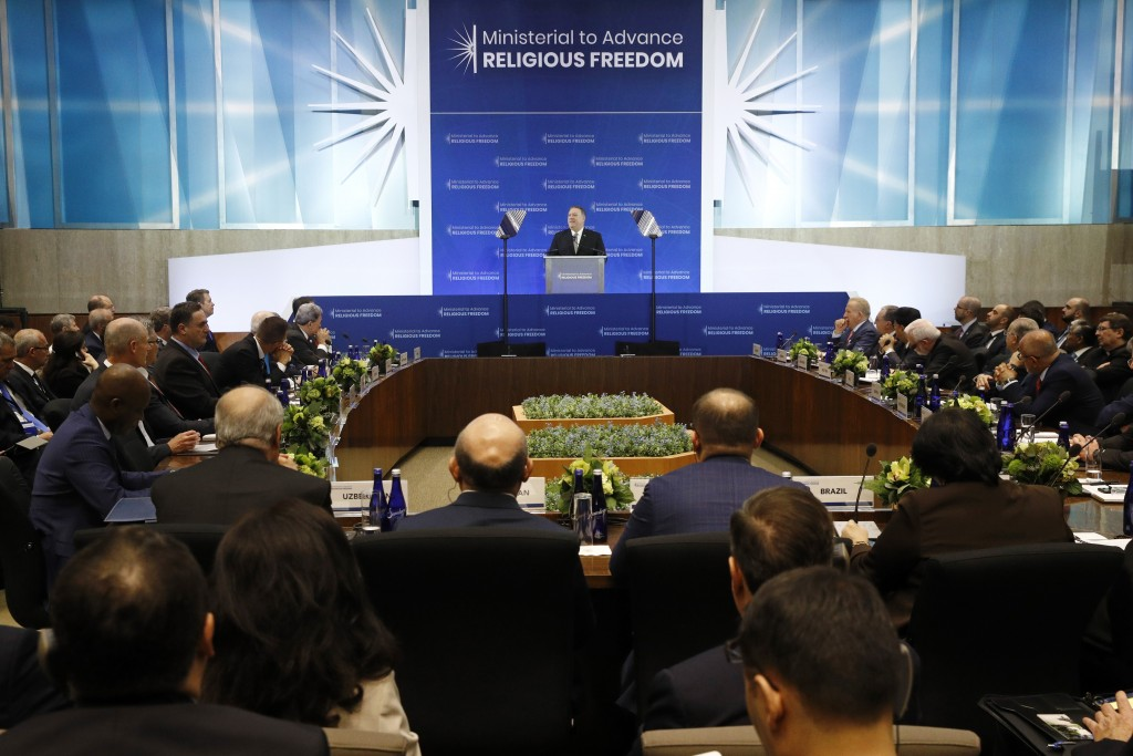 Secretary of State Mike Pompeo speaks at the Ministerial to Advance Religious Freedom, Thursday, July 18, 2019, at the U.S. State Department in Washin...