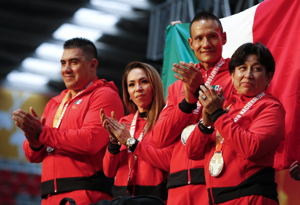 In this July 14, 2019 photo, Mexico's bodybuilding delegation to the upcoming Pan Am Games in Peru is presented during national bodybuilding champions...