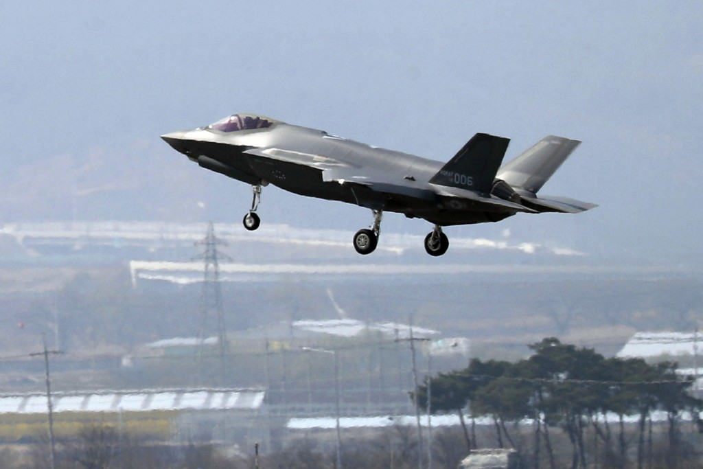FILE - In this March 29, 2019, photo, a U.S. F-35A fighter jet prepares to land at Chungju Air Base in Chungju, South Korea. The White House says Turk...
