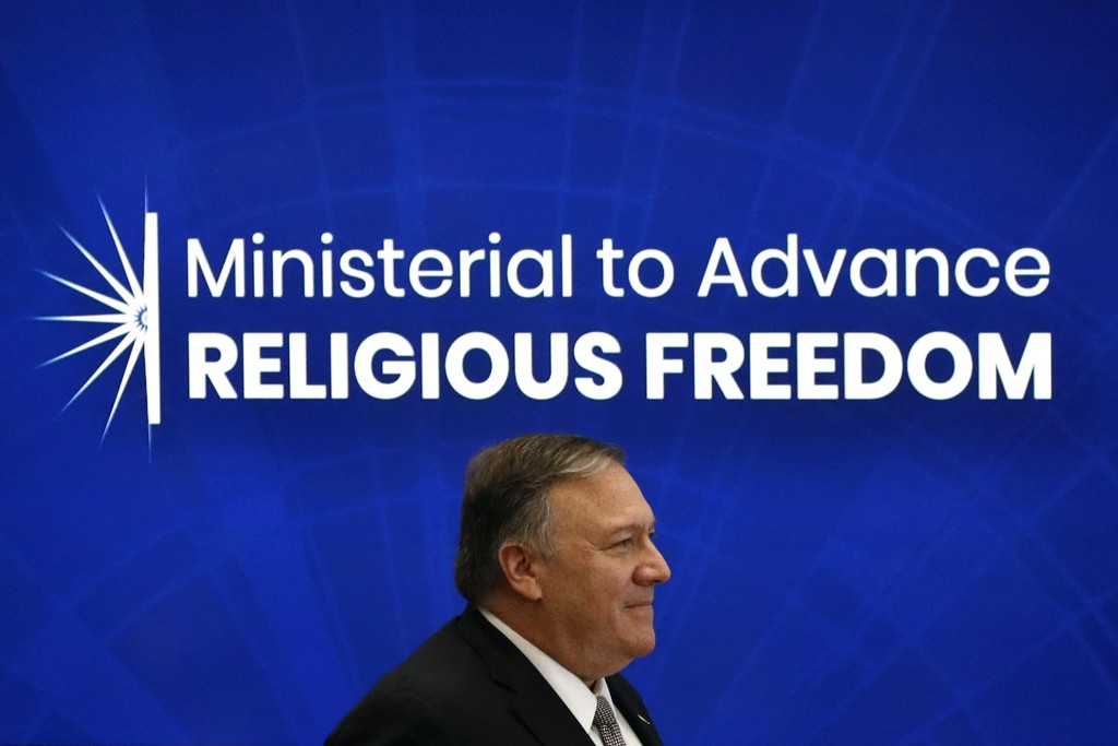 Secretary of State Mike Pompeo walks onstage before speaking at the Ministerial to Advance Religious Freedom, Thursday, July 18, 2019, at the U.S. Sta...