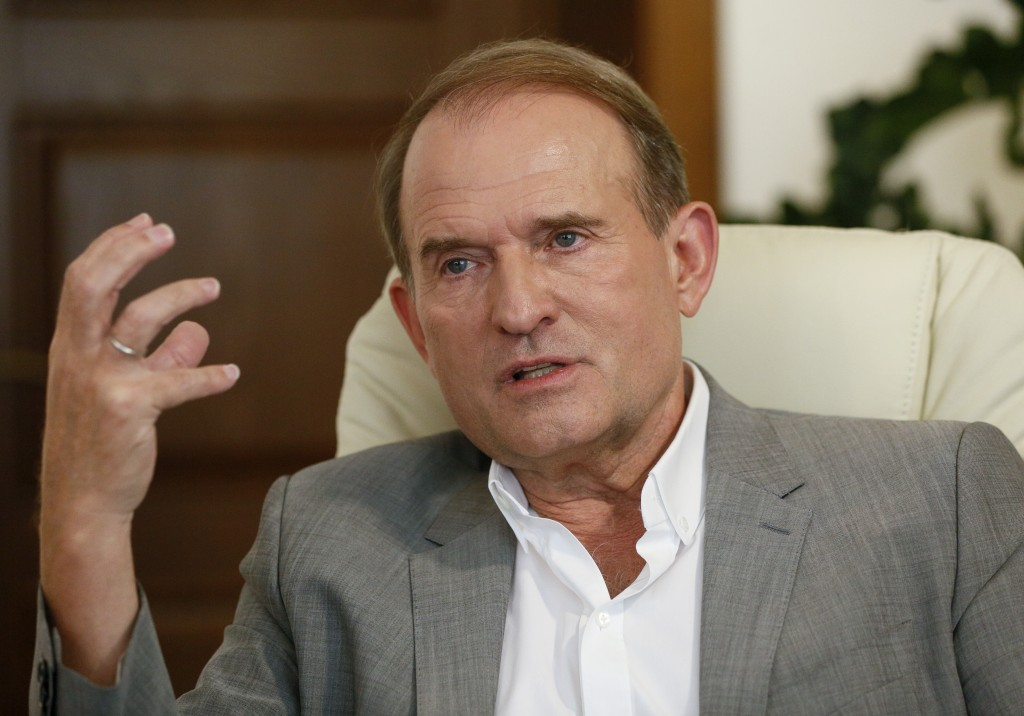 In this photo taken on Friday, July 12, 2019 a party led by one of Russian President Vladimir Putin's closest associates, tycoon Viktor Medvedchuk, ta...