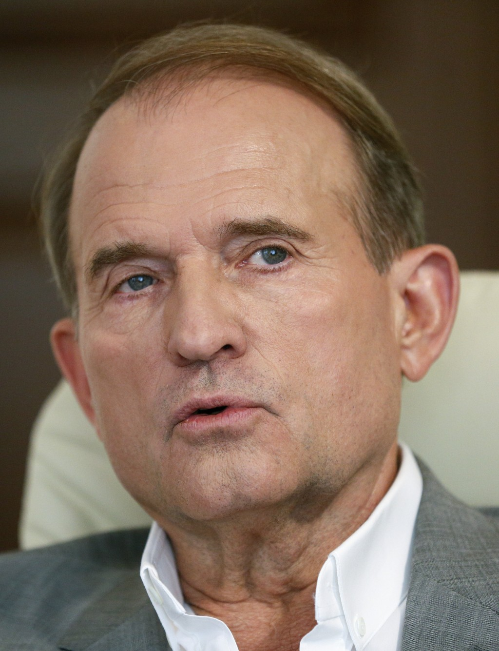 In this photo taken on Friday, July 12, 2019 a party led by one of Russian President Vladimir Putin's closest associates, tycoon Viktor Medvedchuk, ta
