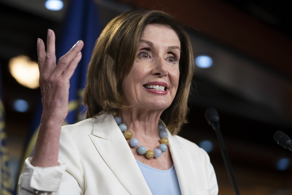 Speaker of the House Nancy Pelosi, D-Calif., holds a news conference on Capitol Hill in Washington, Wednesday, July 17, 2019.  (AP Photo/J. Scott Appl...