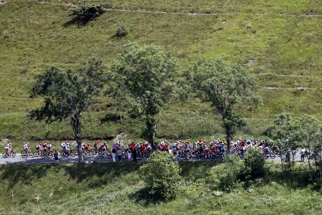The pack rides during the twelfth stage of the Tour de France cycling race over 209,5 kilometers (130 miles) with start in Toulouse and finish in Bagn...