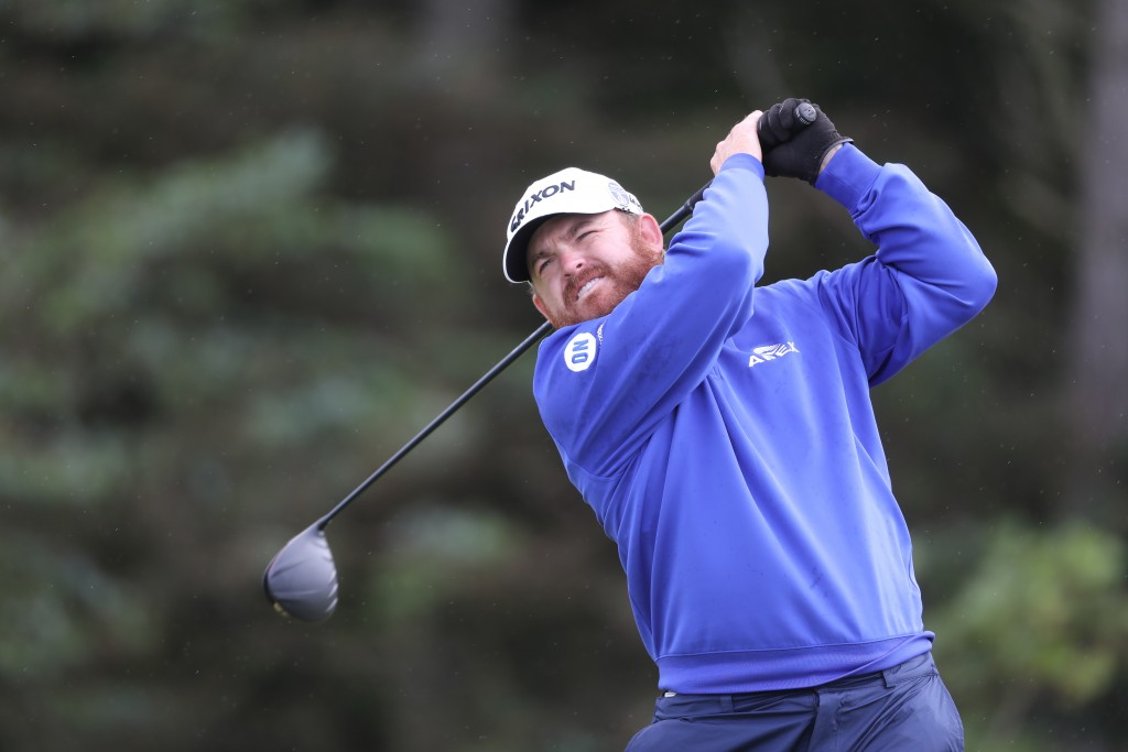 J.B. Holmes of the United States plays tee shot on the 5th hole during the first round of the British Open Golf Championships at Royal Portrush in Nor...