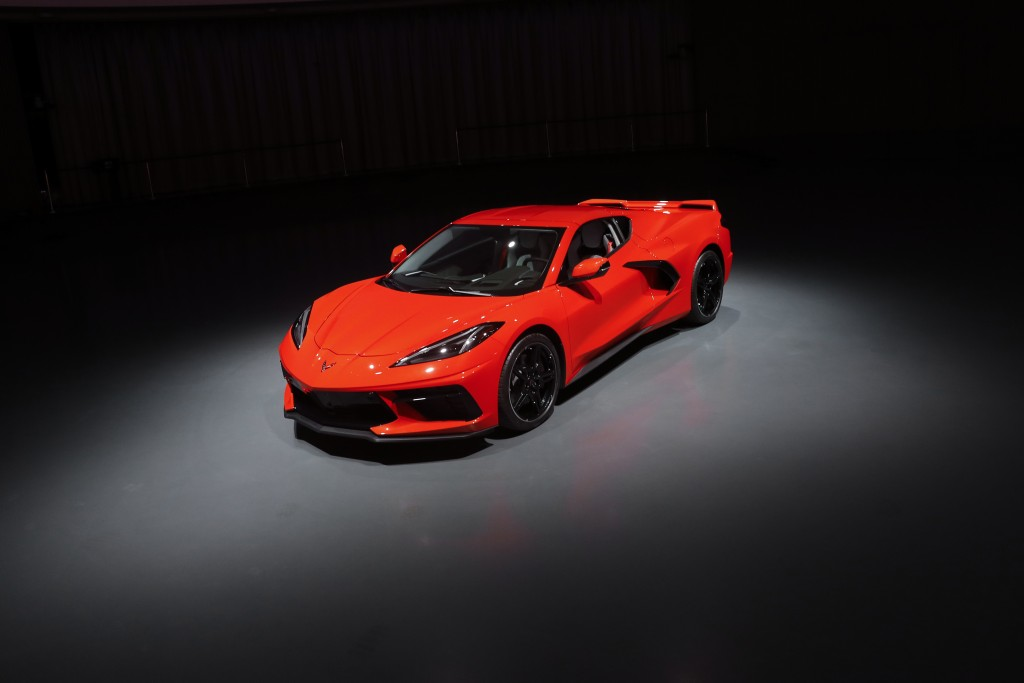 This June 24, 2019, photo shows a pre-production 2020 Chevrolet Corvette automobile in Warren, Mich. The mid-engine C8, the flagship of GM's Chevrolet...