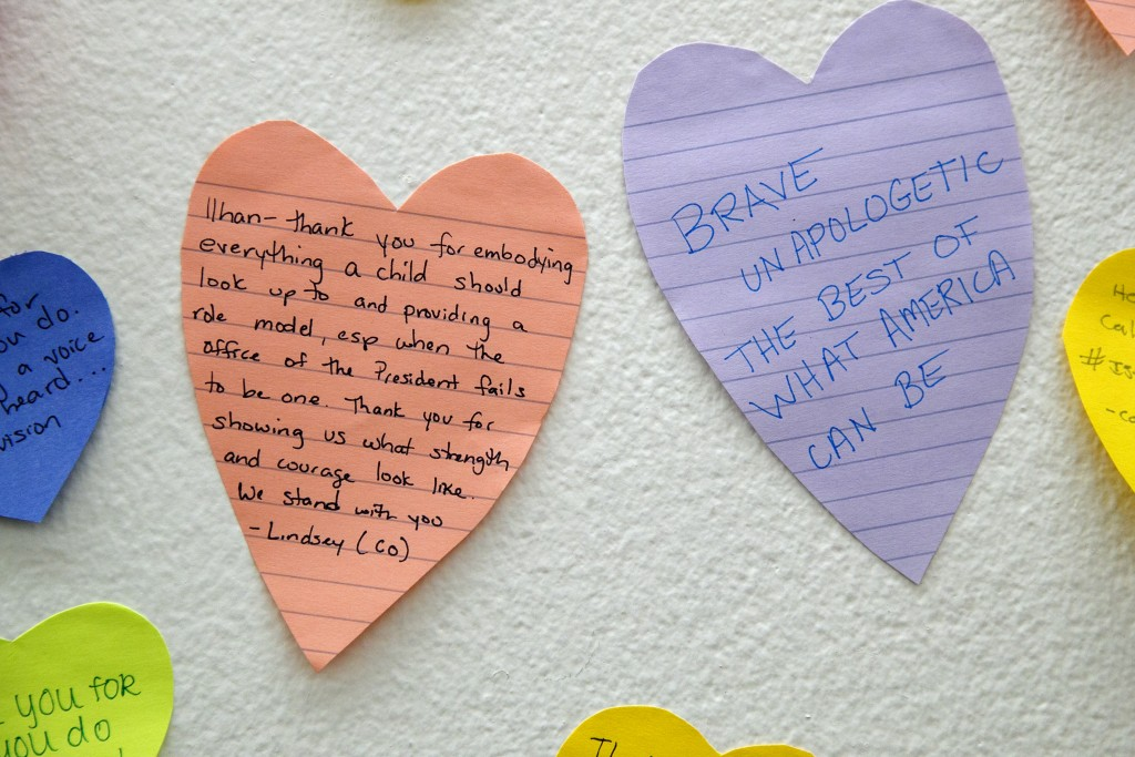 Heart shaped Post-its line the wall outside the office of Rep. Ilhan Omar, D-Minn., Friday, July 19, 2019, part of a day-long solidarity vigil organiz...