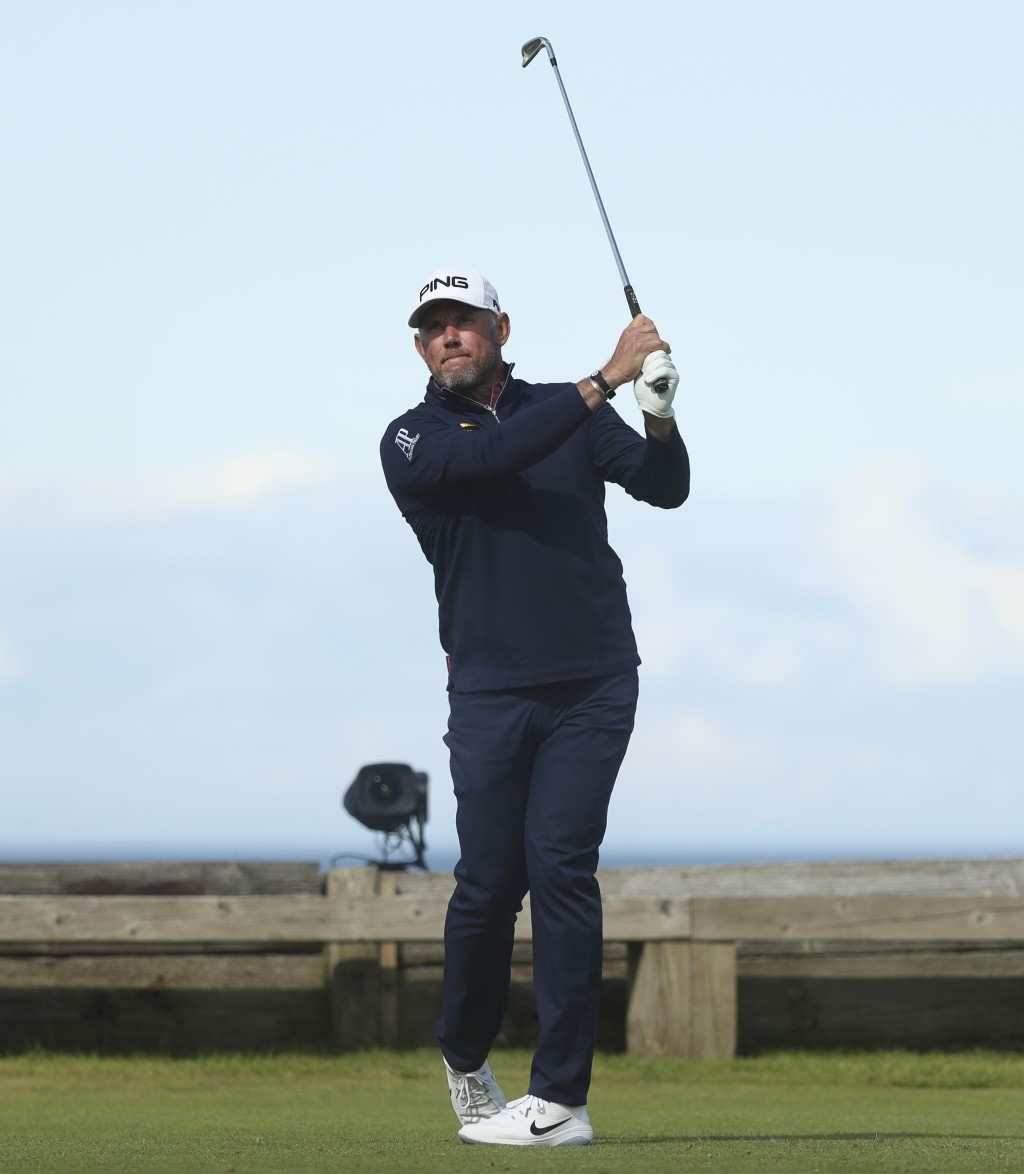 England's Lee Westwood plays his tee shot off the 6th hole during the third round of the British Open Golf Championships at Royal Portrush in Northern...